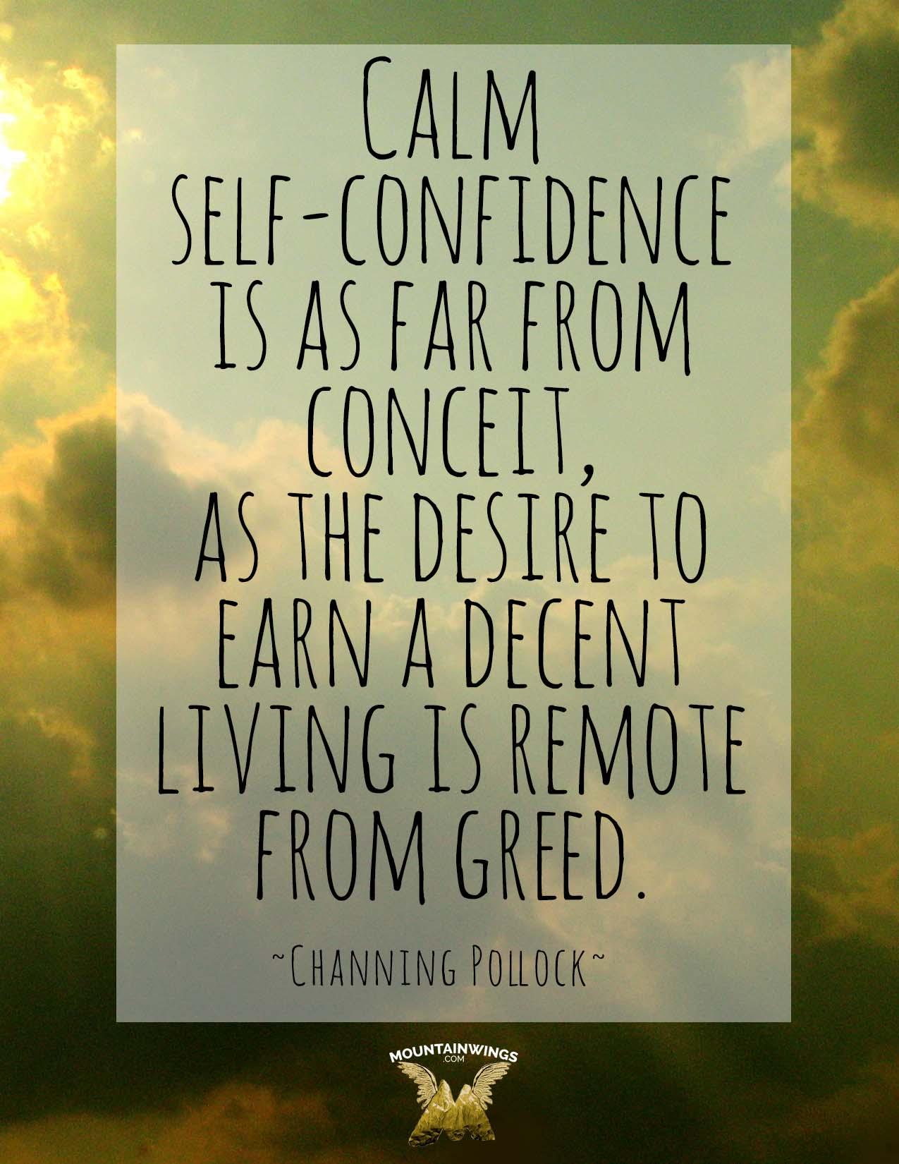 Calm self confidence